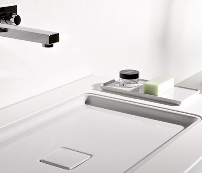 Shallow rectangular built-in wash basin