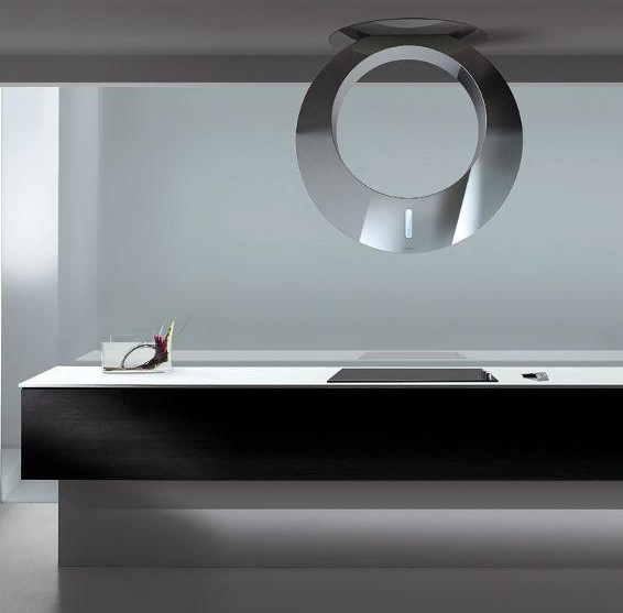 Vent hood that looks like a silver ring haging from the ceiling,