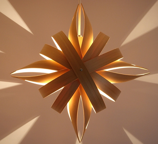 Star shaped pendant lighting of cedar wood