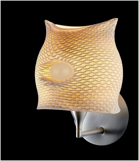 Wall sconce with an elastic cover fitted over a plastic shade
