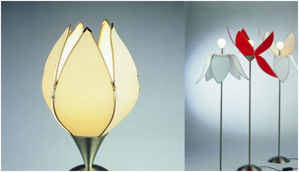 Tulip shaped lamp shades created with zippers
