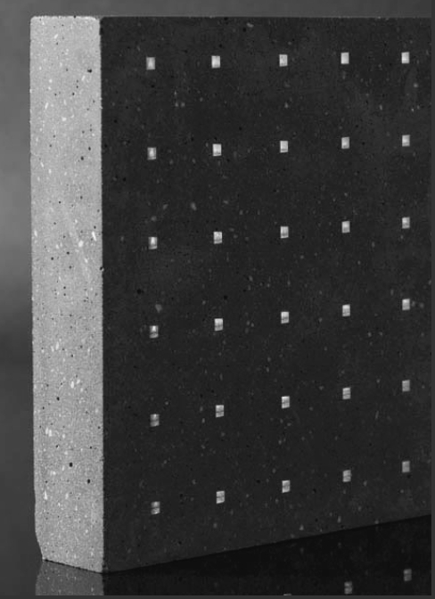 Concrete tile with embedded LEDs