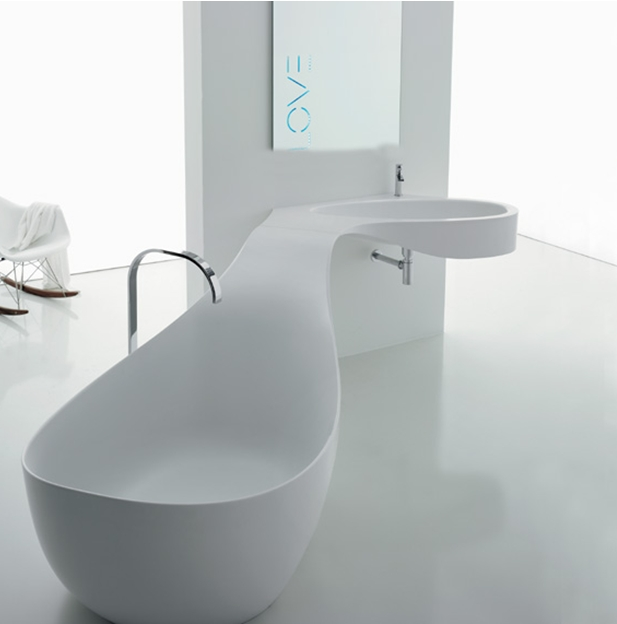 Corner Sink integrated with Bath Tub