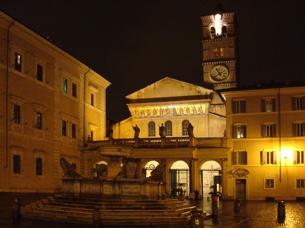 Church of Santa Maria in Trastevere in the evening