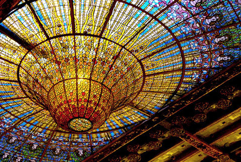 Detail of stained glass skylight in the Palau de la Música Catalana