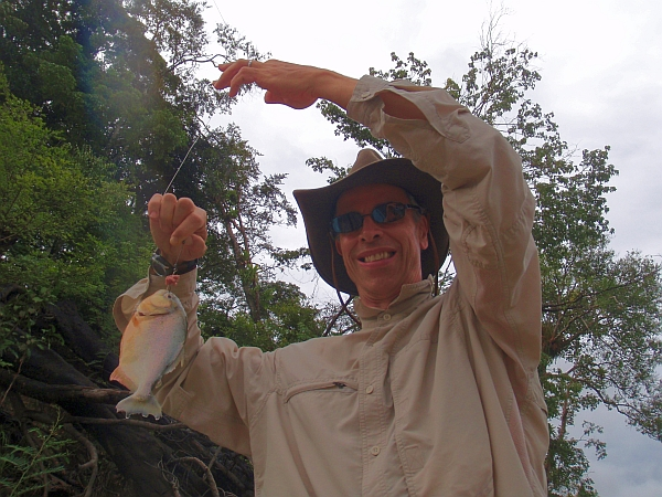 Piranha fishing on the Amazon.