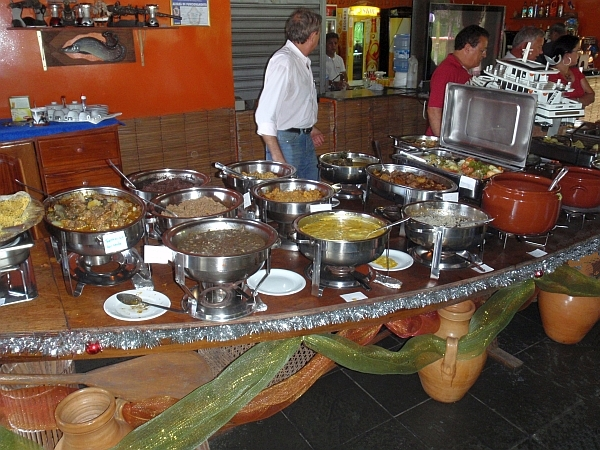 A buffet serving alligator, turtle and other local foods at the Restaurante Olenhador in Manaus.
