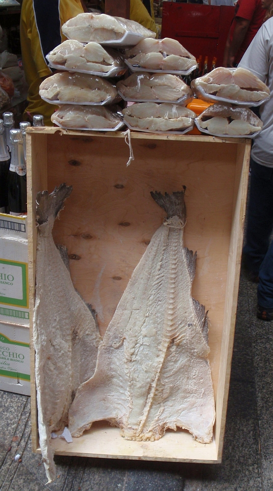 Piece of salt cod fish called bacalhau at the market
