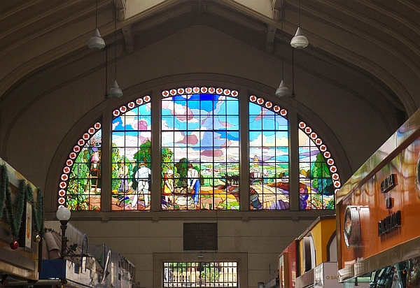 Stained glass windows of the Mercado Municipal food market.