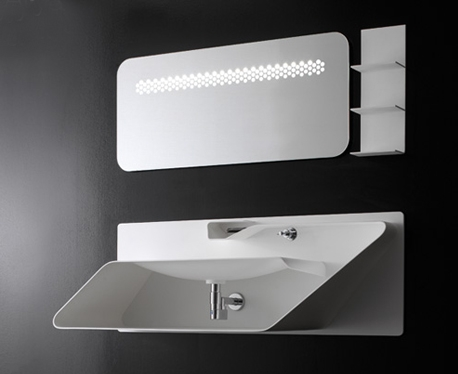Bandini design showing Faucet integrated with Sink. Coordinating Shelving system and Mirror are also shown on wall.